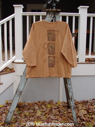 Vintage Blue Fish Clothing 1998 Long Sleeved Vented Tee Triple Pepper Ochre Size 2- Bluefishfinder.com