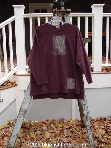 Vintage Blue Fish Clothing 1999 Long Sleeved Vented Tee Single Leaf Wine Size 2- Bluefishfinder.com