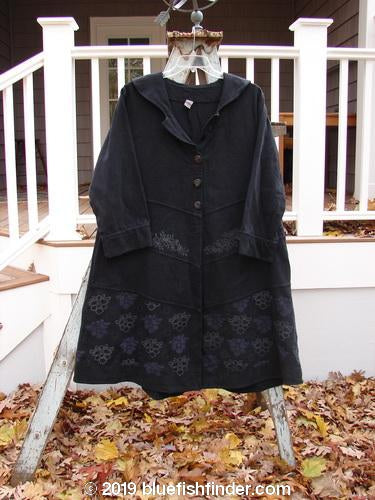 Vintage Blue Fish Clothing Barclay Twill Blossom Coat Bud Vine Black Size 1- Bluefishfinder.com