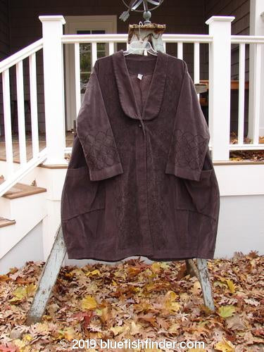 Vintage Blue Fish Clothing Barclay Velveteen Poet's Coat Continuous Floral Aubergine OSFA- Bluefishfinder.com