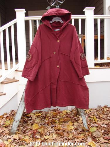 Vintage Blue Fish Clothing Barclay Patched Interlock Hooded Curve Coat Red Wine Size 2- Bluefishfinder.com