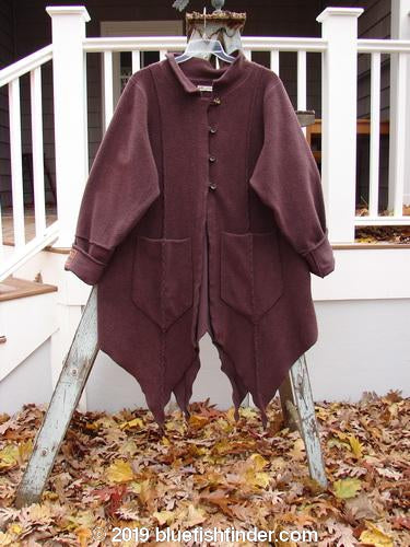 Vintage Blue Fish Clothing Barclay Patched Celtic Moss Four Point Coat Deep Plum Size 1- Bluefishfinder.com