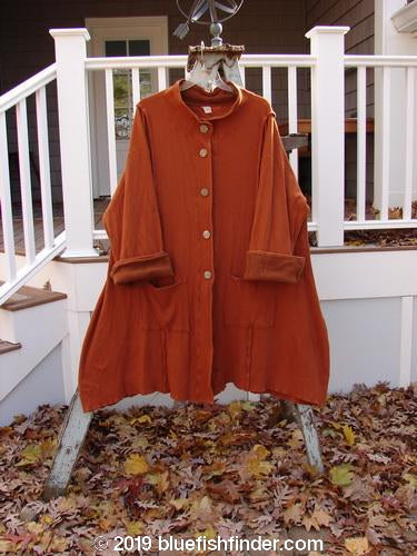 Vintage Blue Fish Clothing Barclay Thermal Mock Collar Coat Mixed Media Pumpkin Size 2- Bluefishfinder.com