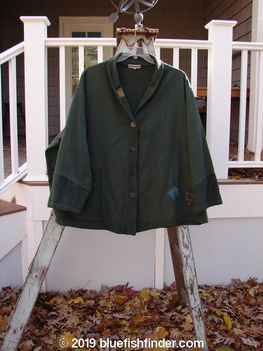 Vintage Blue Fish Clothing Barclay Patched Flannel Frolic Jacket Swirl Pond Green OSFA- Bluefishfinder.com