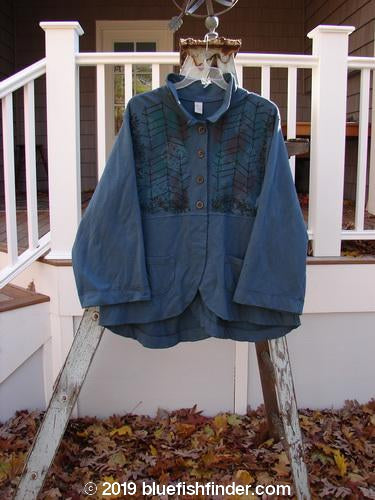 Vintage Blue Fish Clothing Barclay Cotton Lycra Empire Jacket Ric Rac Midnight Teal Size 1- Bluefishfinder.com