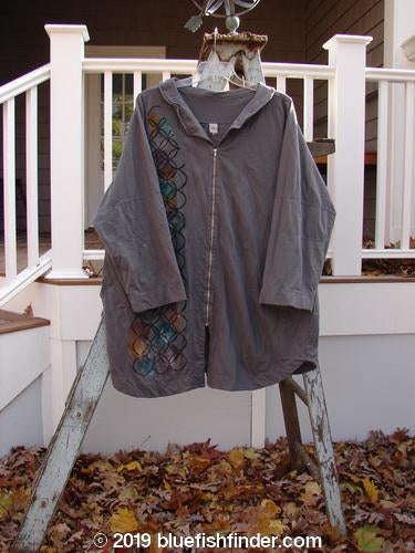 Vintage Blue Fish Clothing Barclay Cotton Lycra Zip Draw Back Cardigan Side Art Dusk Grey Size 1- Bluefishfinder.com