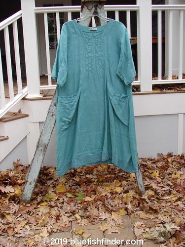 Vintage Blue Fish Clothing Barclay Linen Banded Pleat Dress Unpainted Spearmint Size 2- Bluefishfinder.com