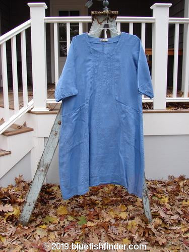 Vintage Blue Fish Clothing Barclay Linen Banded Pleat Dress Unpainted Cornflower Size 2- Bluefishfinder.com