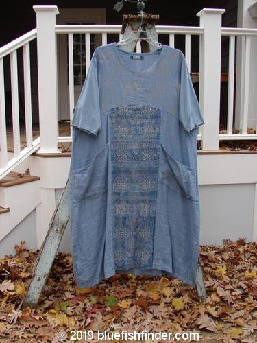 Vintage Blue Fish Clothing Barclay Linen Cotton Sleeve Empire Dress Tapestry Bluestone Size 2- Bluefishfinder.com