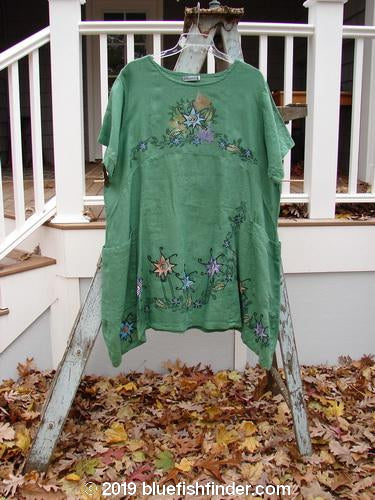 Vintage Blue Fish Clothing Barclay Linen Viola Tunic Star Garden Bright Pine Size 2- Bluefishfinder.com