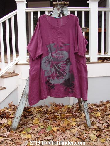 Vintage Blue Fish Clothing Barclay Linen Sectional Urchin Dress Single Dried Flower Burgundy Size 2- Bluefishfinder.com