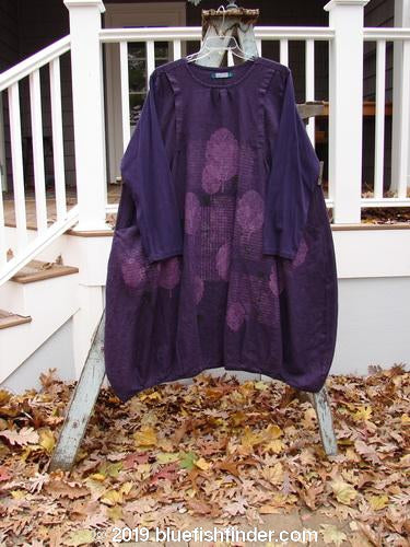 Vintage Blue Fish Clothing Barclay Linen Long Sleeve Artist Pleat Dress Windy Leaf Midnight Size 2- Bluefishfinder.com