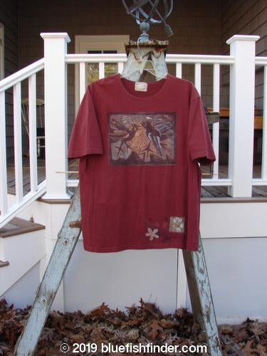 Vintage Blue Fish Clothing 1999 Artist Choice Short Sleeved Tee Birds Deep Burgundy Size 0- Bluefishfinder.com
