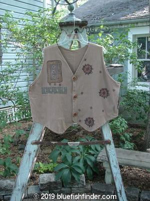 Vintage Blue Fish Clothing 1995 Cottage Vest Geometrics Cottage Brown OSFA- Bluefishfinder.com