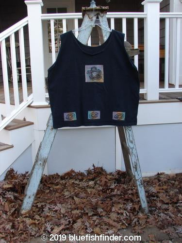 Vintage Blue Fish Clothing 1992 Patched Oversized Tank Flower Black OSFA- Bluefishfinder.com