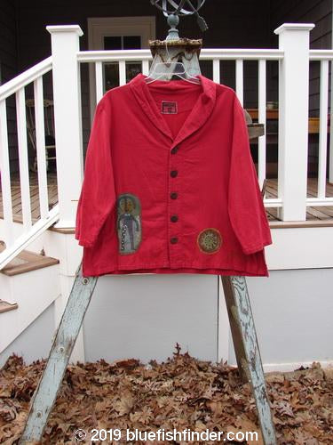 Vintage Blue Fish Clothing Barclay Patched PJ Jacket Happy Fellow Heart Red Size 0- Bluefishfinder.com
