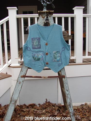 Vintage Blue Fish Clothing 1995 Cottage Vest Garden Watercolor OSFA- Bluefishfinder.com