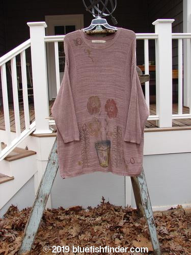 Vintage Blue Fish Clothing 1995 Linear Tunic Double Flower Pot Twilight Rose Melange OSFA- Bluefishfinder.com
