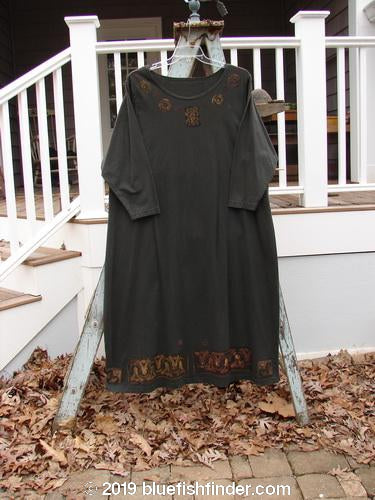 Vintage Blue Fish Clothing 1992 Holiday Long Sleeved Simple Dress Metallics Black Sand Size 2- Bluefishfinder.com