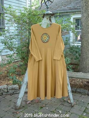 Vintage Blue Fish Clothing 1996 Elements Simple Dress Circle Medallion Old Gold Size 0- Bluefishfinder.com