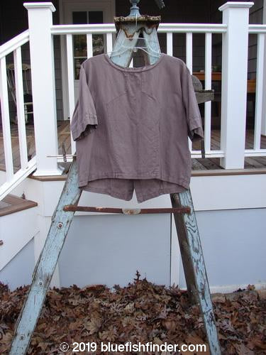 Vintage Blue Fish Clothing 1999 Sample Linen Back Button Top Daisy Grey Plum Size 1- Bluefishfinder.com