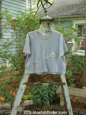 Vintage Blue Fish Clothing 2000 Pocket Crop Top Floral Robin's Egg Size 1- Bluefishfinder.com