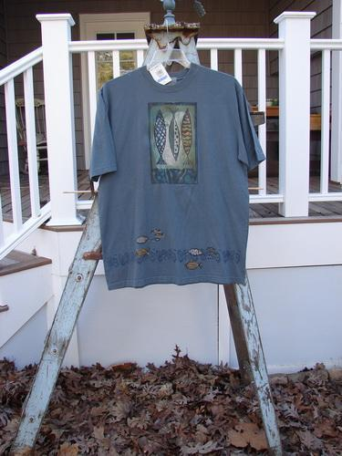 Vintage Blue Fish Clothing 2000 NWT Short Sleeved Tunic Tee Triple Pike Blue Mineral Size 0- Bluefishfinder.com