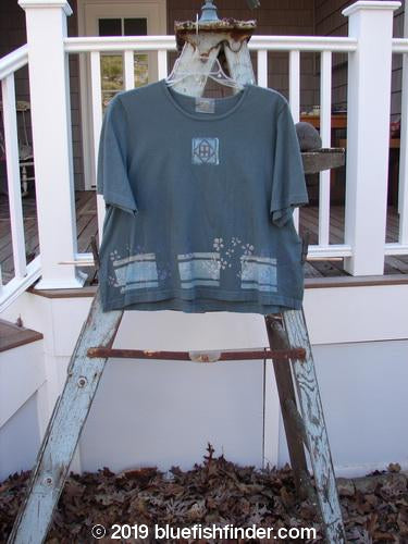 Vintage Blue Fish Clothing 2000 NWT Short Sleeved Crop Tee Flower Fence Blue Mineral Size 1- Bluefishfinder.com