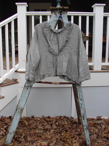 Vintage Blue Fish Clothing Magnolia Pearl Linen Deep Neck Ruffle Painters Smock Grey OS- Bluefishfinder.com