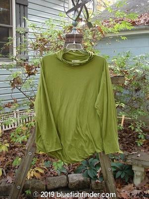 Vintage Blue Fish Clothing Barclay Batiste Double Layer Long Sleeved Curly T Neck Top Olive Size 2- Bluefishfinder.com