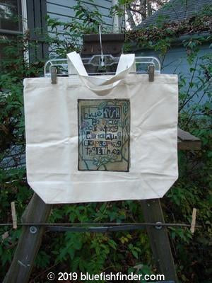 Vintage Blue Fish Clothing Barclay Blue Fish Promo Tote Bag Block Print Natural One Size- Bluefishfinder.com