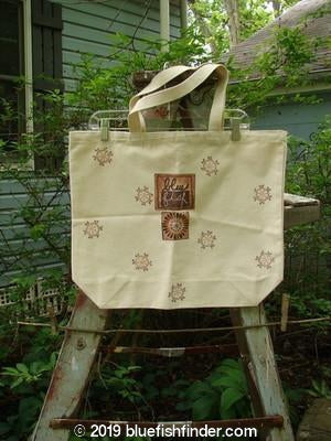 Vintage Blue Fish Clothing Barclay Blue Fish Promo Tote Bag Star Wheel Natural One Size- Bluefishfinder.com