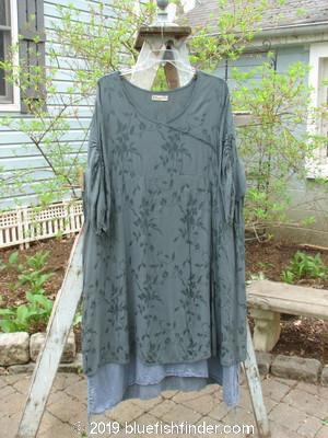 Vintage Blue Fish Clothing Barclay Brocade Pull Up Cross Over Dress Steel Teal Size 2- Bluefishfinder.com