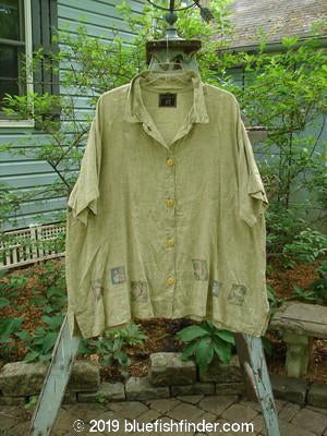Vintage Blue Fish Clothing Barclay Cross Dye Thyme Top Curl Garden Yellow Olive Size 2- Bluefishfinder.com