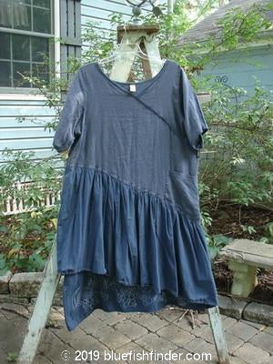 Vintage Blue Fish Clothing Barclay Cross Over Two Tier Angle Dress Fern Flower Navy Size 1- Bluefishfinder.com