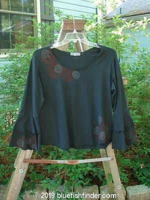 Vintage Blue Fish Clothing Barclay Long Sleeved Petal Top Spirograph Black Size 1- Bluefishfinder.com