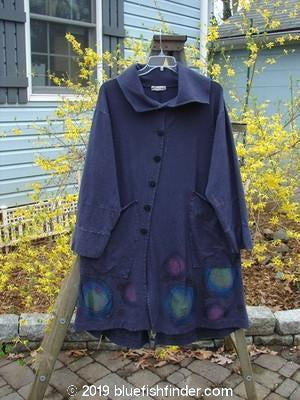 Vintage Blue Fish Clothing Barclay Cotton Lycra Rib Collar Coat Planets Royal Raven Size 1- Bluefishfinder.com