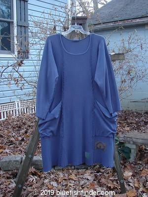 Vintage Blue Fish Clothing Barclay Thermal Patched Drop Pocket Dress Tiny Leaf Vine Royal Blue Size 1- Bluefishfinder.com