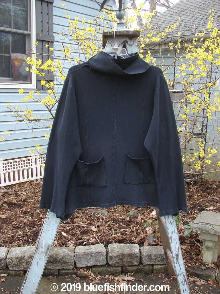 Vintage Blue Fish Clothing Barclay Thermal Double Mock Pocket Tunic Black Size 2- Bluefishfinder.com