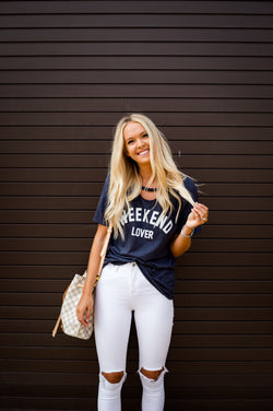 Weekend Lover Tee in Navy