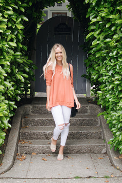 Zoe Cold Shoulder Top in Tangerine