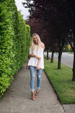 Zoe Cold Shoulder Top in White