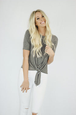 Nora Front Tie T-Shirt in Charcoal Stripes