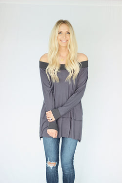 Blair Over Shoulder Top in Navy
