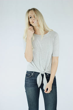 Nora Front Tie T-Shirt in Heather Gray