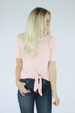 Nora Front Tie T-Shirt in Dusty Pink