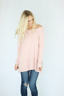 Blair Over Shoulder Top in Blush