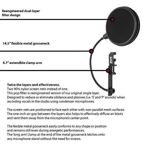 Dual Layer Microphone Pop Filter w/ Flexible Goozeneck