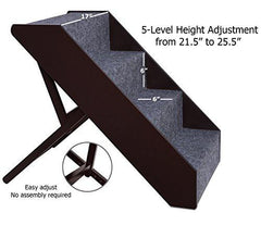 Wood Dog Stairs, 5 Levels Height Adjustment Pet Steps, Foldable