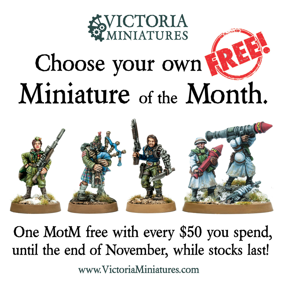 Chose your Free Miniature of the Month.